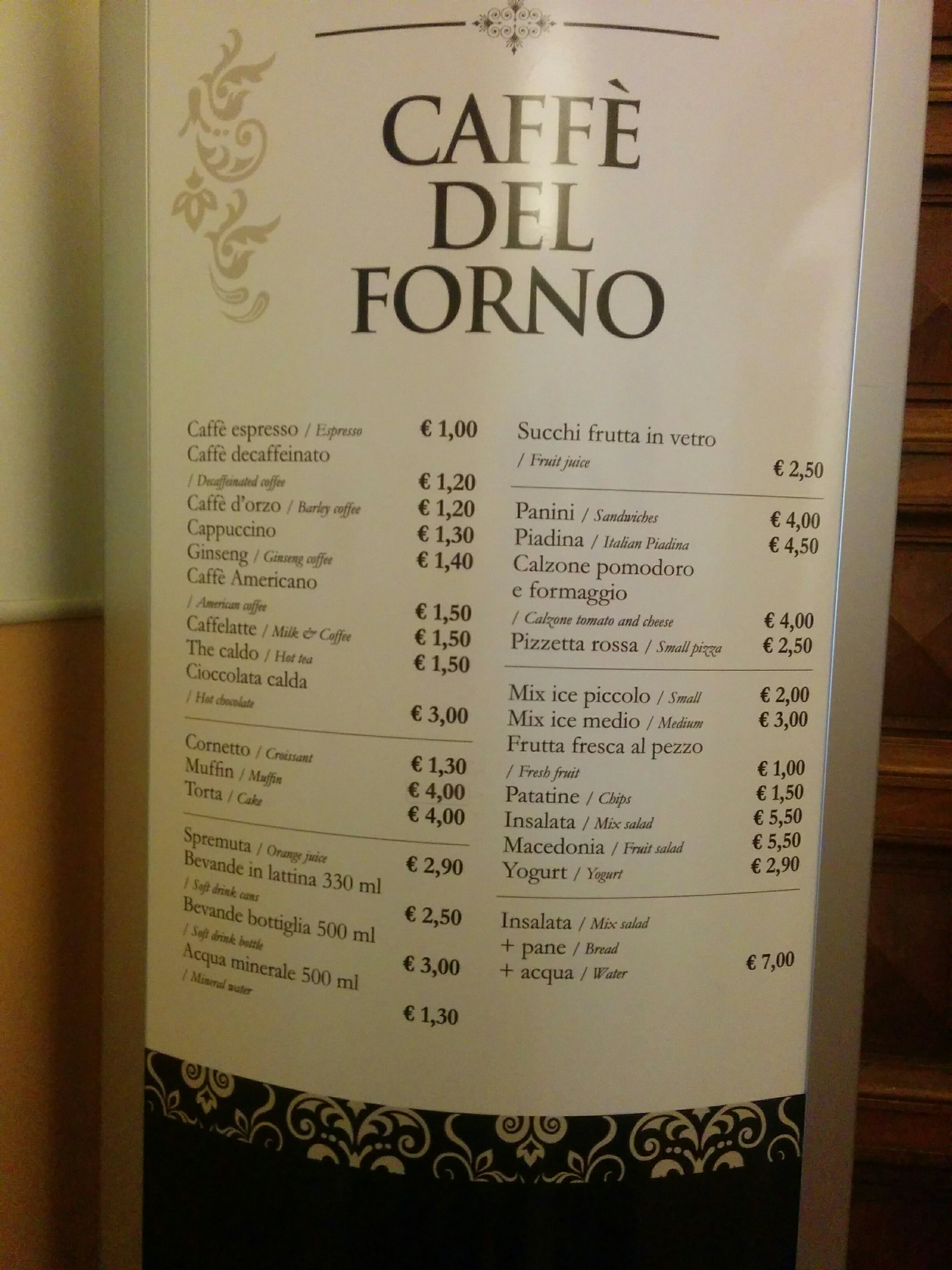I expected the Vatican café to cost an arm and a leg, but compared to Zürich these prices were a pleasant surprise!